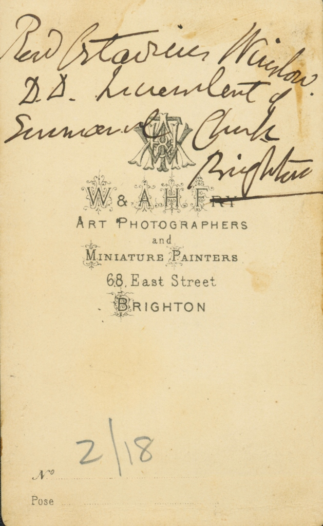 Octavius Winslow in Brighton with signature (back)